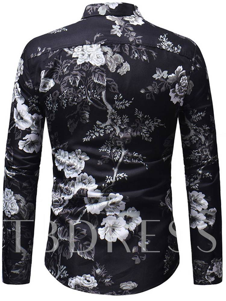Lapel Floral Printed Single-Breasted Slim Men's Shirt
