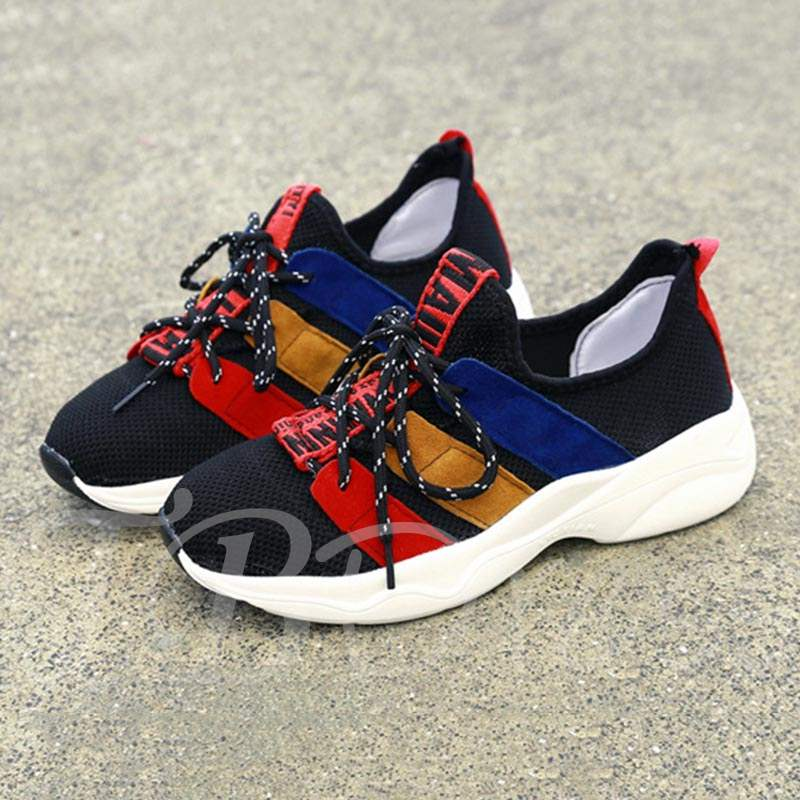 Buy Mesh Lace-Up Patchwork Color Block Stylish Women's Sneaker, Spring,Summer,Fall, 13385865 for $29.99 in TBDress store