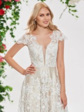 Cap Sleeve V-Neck Lace Wedding Dress