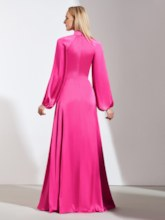 High Neck Button Long Sleeves Evening Dress 2019