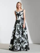 A-Line Appliques Beading Flowers Printed Evening Dress