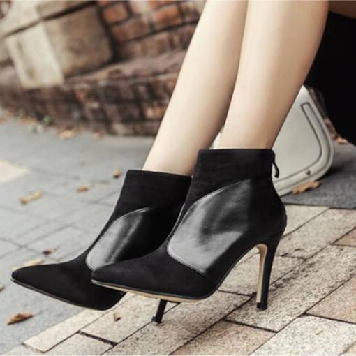 Pointed Toe Stiletto Heel Suede Back Zip Chic Women's Ankle Boots