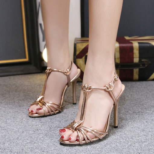 Open Toe Strappy Stiletto Heel T-Shaped Buckle Women's Prom Sandals