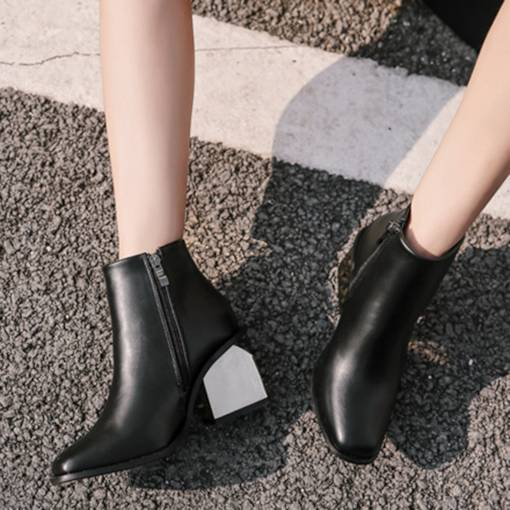 Square Toe Side Zipper Chunky Heel Stylish Women's Ankle Boots