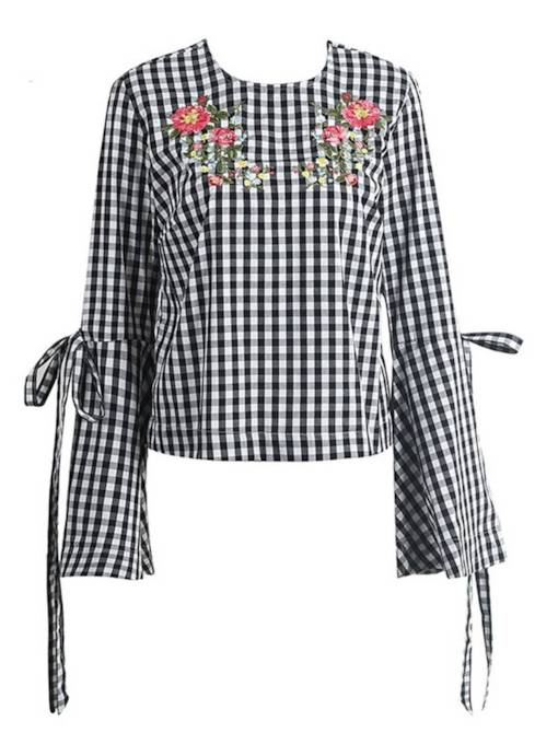 Floral Embroidery Bell Sleeve Lace Up Women's Blouse