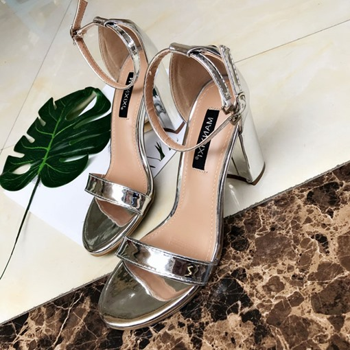 Open Toe Line-Style Buckle Chunky Heel Sexy Women's Prom Sandals
