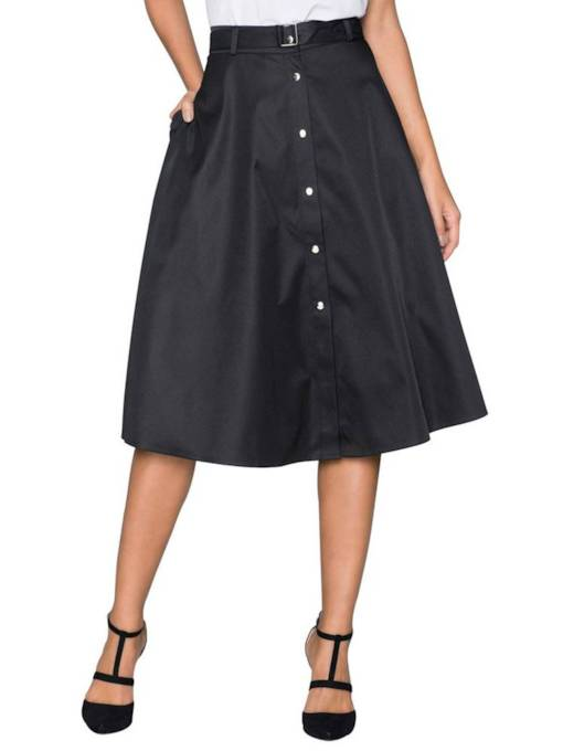 Button A Line Women's Skirt