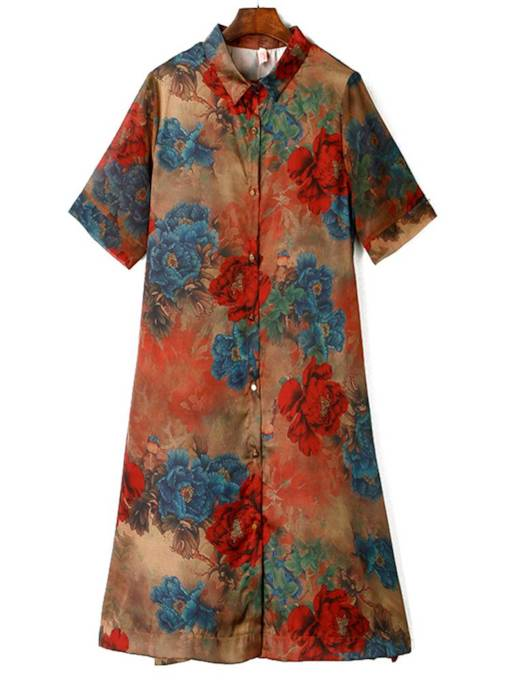 Lapel Single-Breasted Printing Women's Day Dress