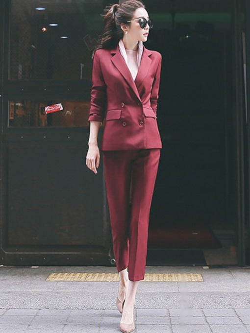 One Button Blazer and Pants Women's Two Piece Set