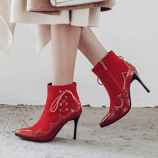 Pointed Toe Patchwork Side Zipper Cross Strap Women's Ankle Boots