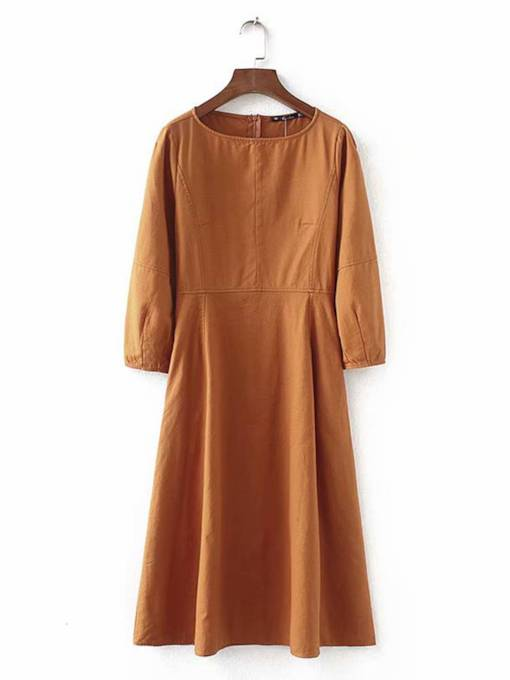 Brown Pullover Women's Day Dress
