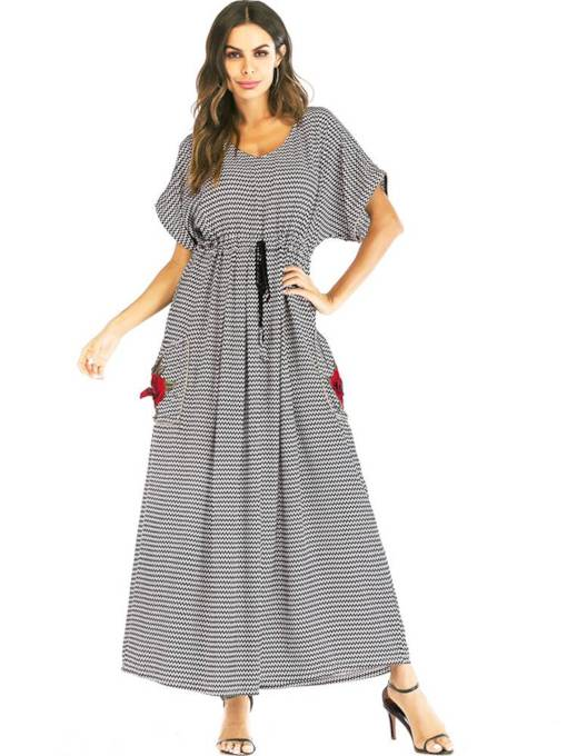 Striped Pockets Lace up Women's Maxi Dress