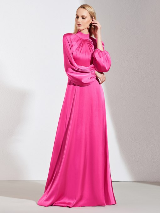 High Neck Button Long Sleeves Evening Dress