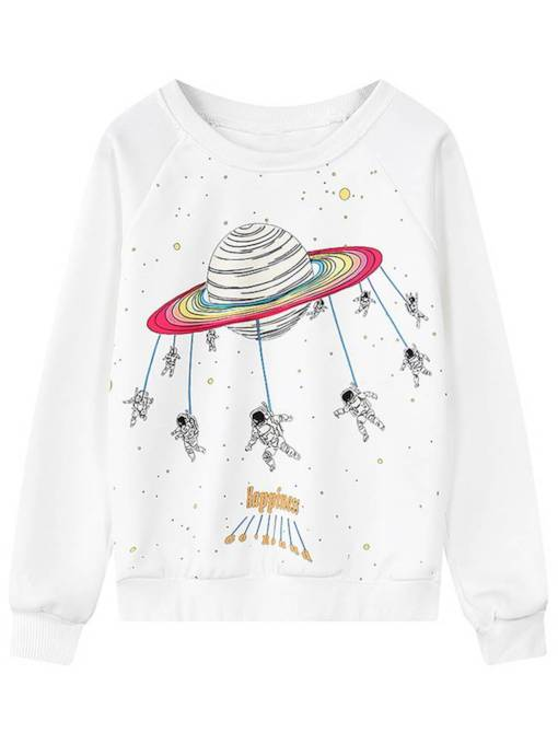 Plain Planet Print Scoop Neck Women's Sweatshirt