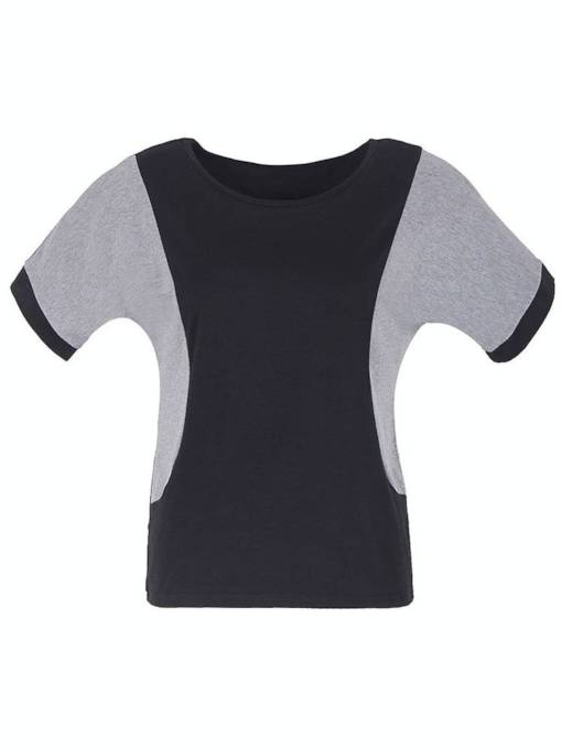 Batwing Sleeve Round Neck Color Block Women's T-Shirt
