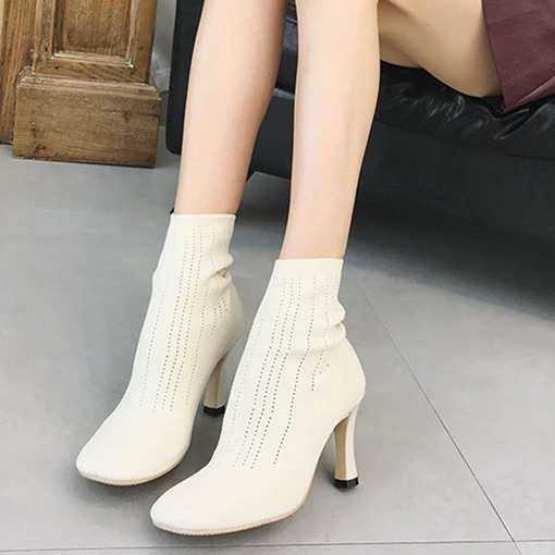 Slip-On Chunky Heel Square Toe Plain Women's Ankle Boots