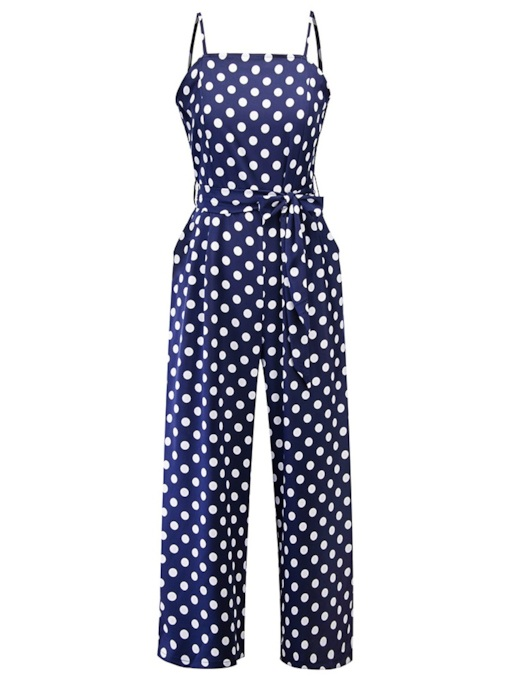Polka Dots Strap Lace-Up Women's Jumpsuit
