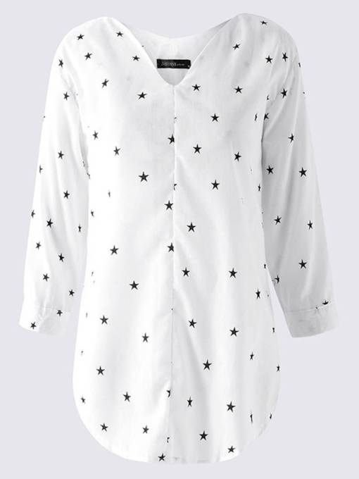 Star Print V-Neck Pullover Women's Casual Blouse