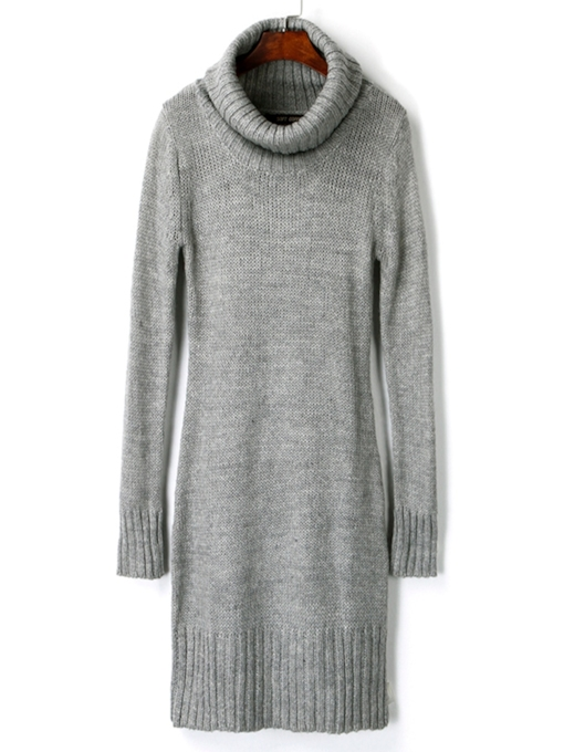 Plain Turtle Neck Long Sleeve Women's Sweater Dress