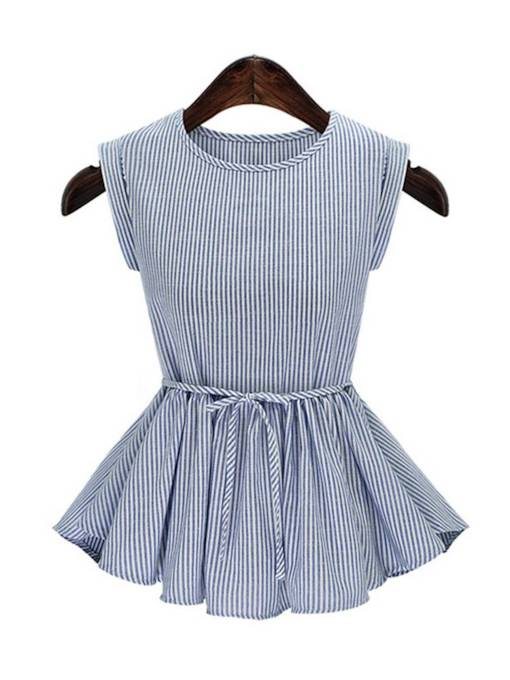 Sleeveless Plus Size Tie Waist Stripe Peplum Women's Blouse
