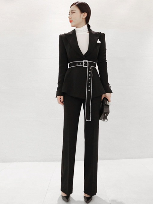 Button Belt Blazer and Pants Women's Two Piece Set
