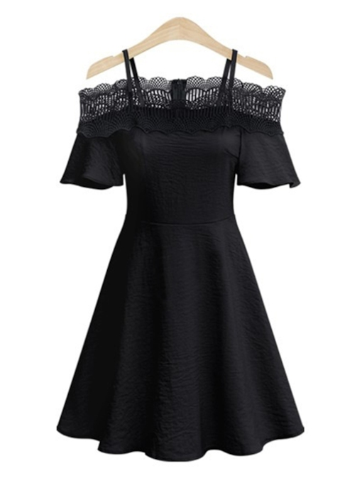 Strappy Lace Patchwork Women's Day Dress