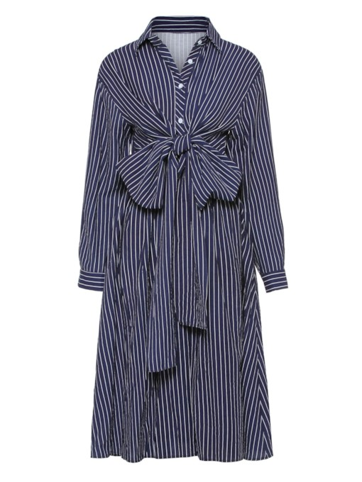 Long Sleeve Bowknot Button Stripe Dress