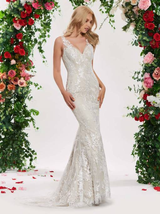 Deep V-Back Lace Mermaid Wedding Dress