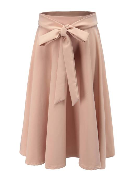 Plain Bowknot Mid-Calf Women's Skirt