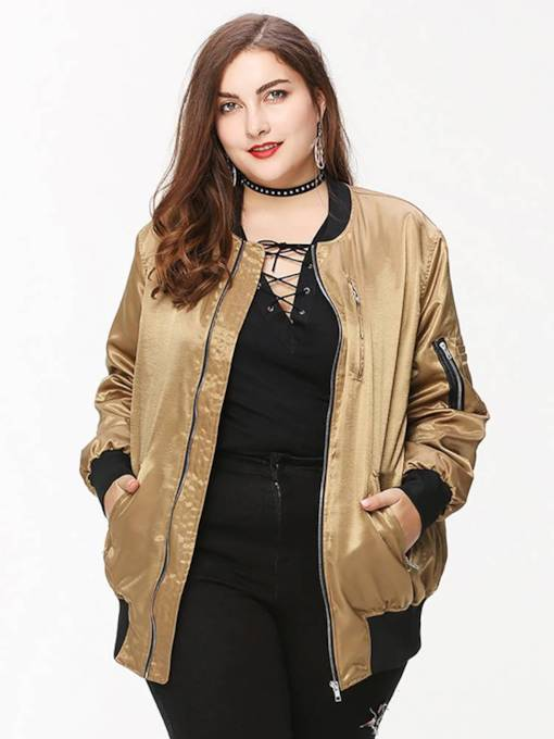 Plus Size Double Pocket Zipper Up Women's Jakcet