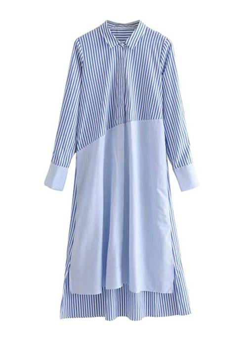 Striped Long Sleeve Women's Shirt Dress