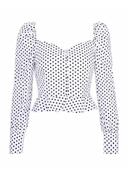 Square Neck Polka Dot Puff Sleeve Women's Shirt