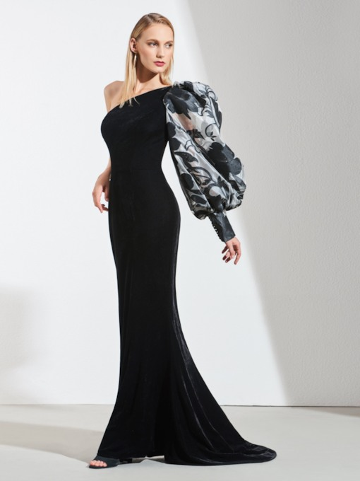 One-Shoulder Sheath Velvet Printed Evening Dress