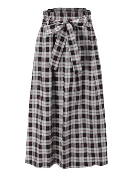 Gingham Print Split Long Women's Maxi Skirt