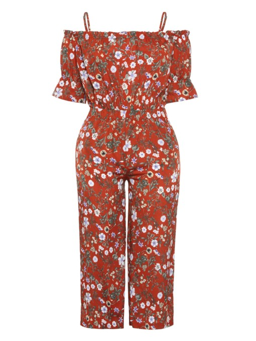 Plus Size Off Shoulder Floral Print Women's Jumpsuit