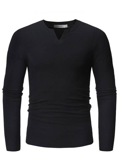 V-Neck Casual Style Plain Slim Men's T-Shirt