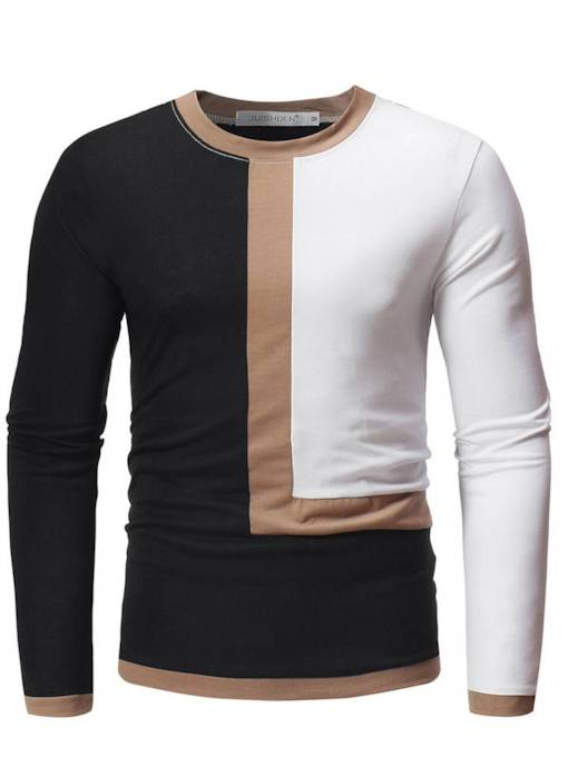 Scoop Neckline Patchwork Color Block Slim Men's T-Shirt