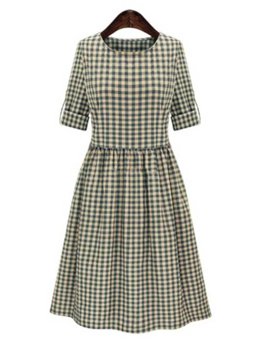 Turquoise Plaid Women's Day Dress