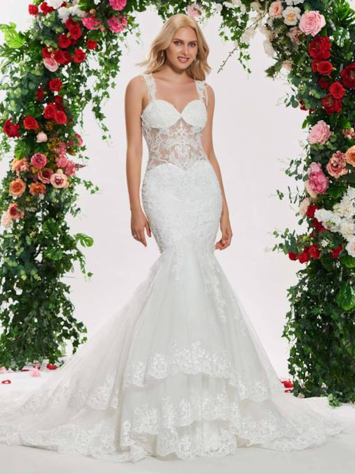 Straps Beading Appliques Mermaid Wedding Dress