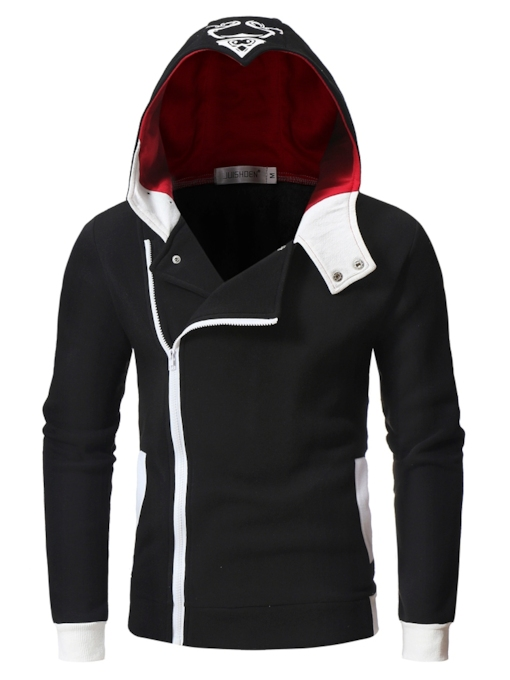 Zipper Pockets Color Block Patchwork Slim Fleece Men's Hoodie