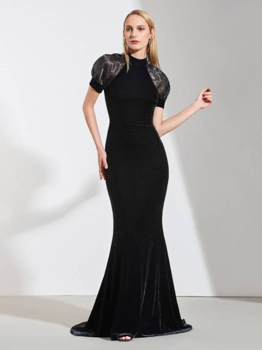 Trumpet High Neck Empire Velvet Evening Dress 2019