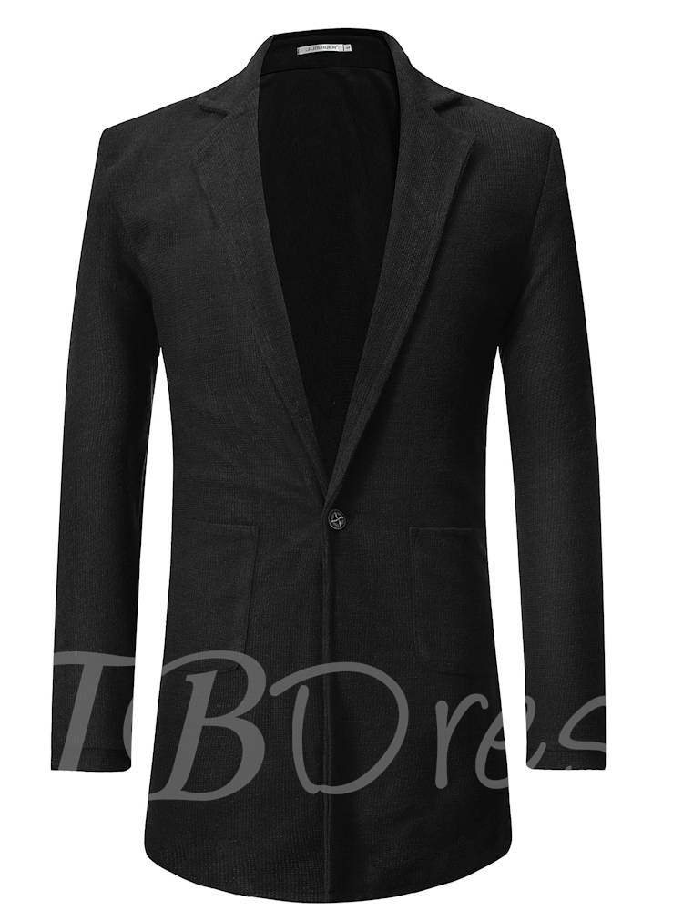 Buy Notched Lapel Pockets Mid-Length Loose Plain Men's Sweater, Fall,Winter, 13387396 for $34.26 in TBDress store