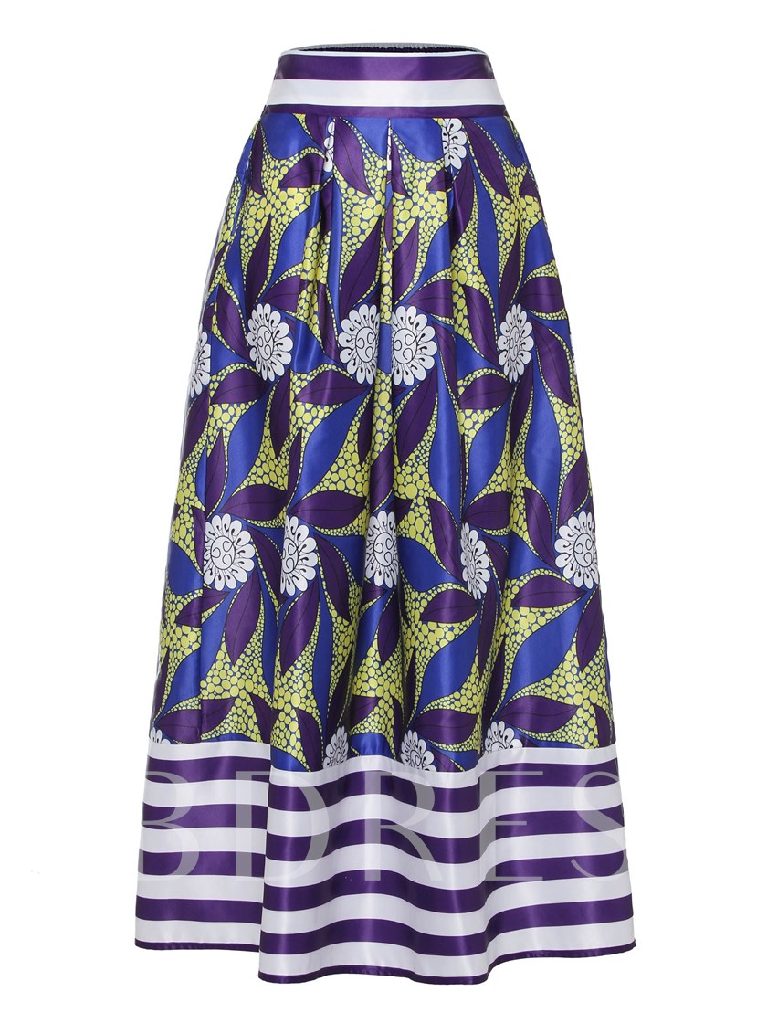 Stripe Floral Print A Line Ankle Length Women's Maxi Skirt
