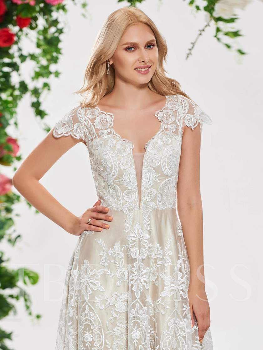 Cap Sleeve Button V-Neck Lace Wedding Dress