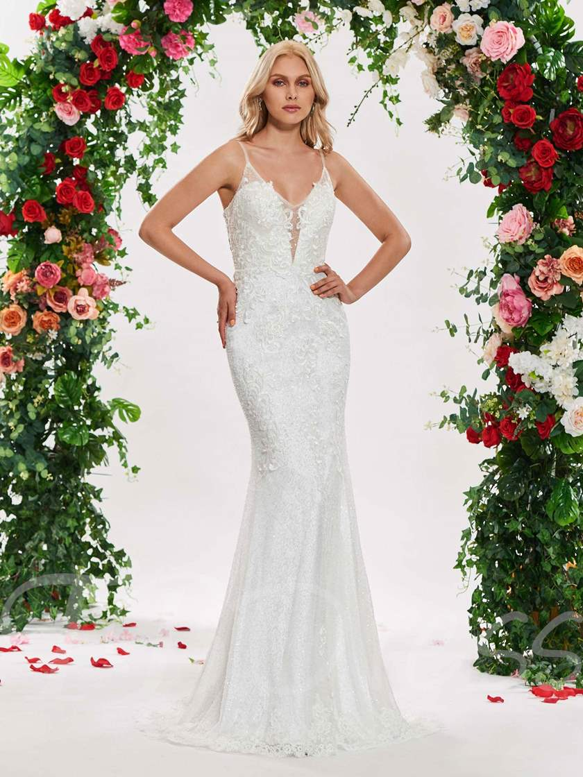 Spaghetti Straps Sequins Mermaid Wedding Dress