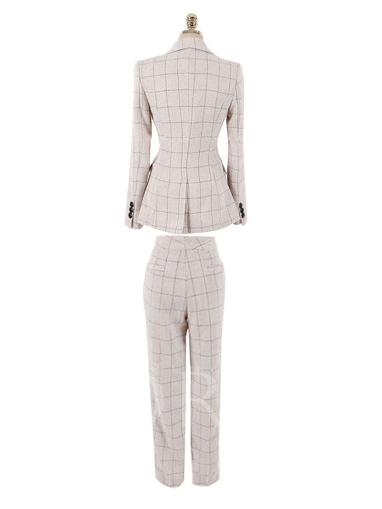 Plaid Double Breasted Balzer and Pants Women's Two Piece Set