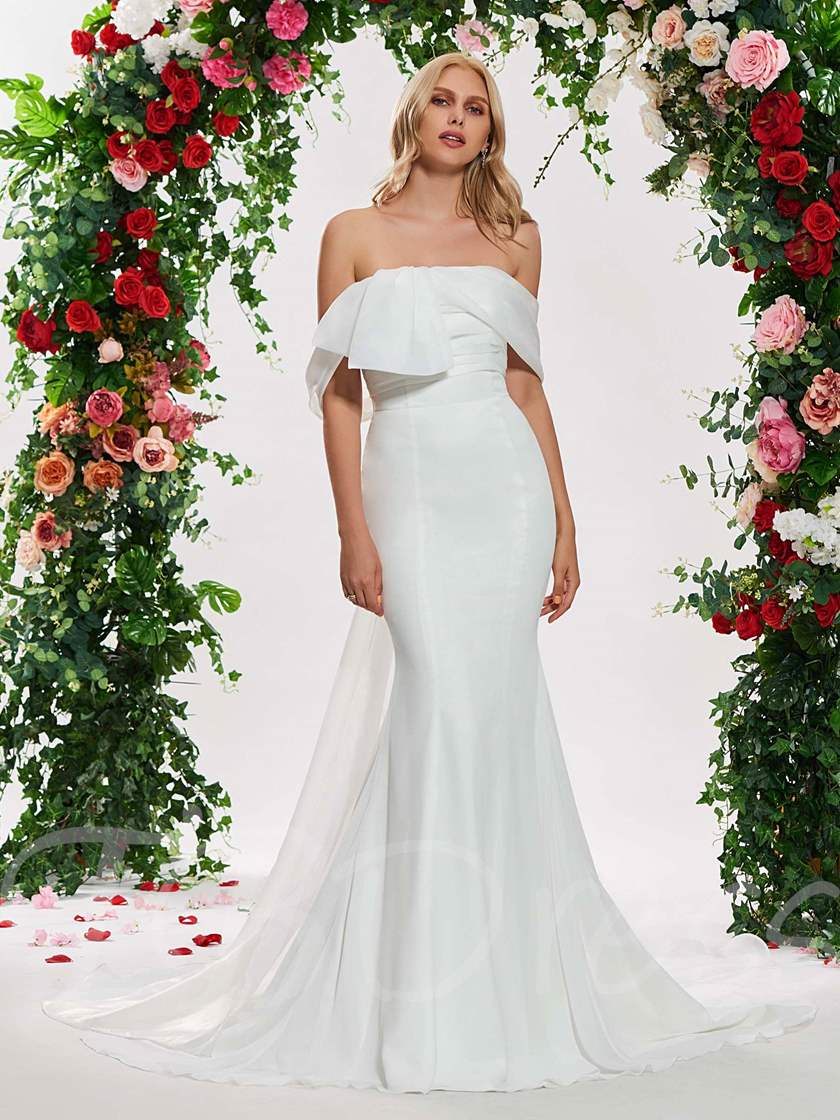 Off the Shoulder Watteau Train Mermaid Wedding Dress
