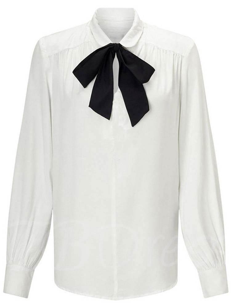 Buy Bow Tie Neck Pleated Plus Size Solid Color Women's Blouse, Spring,Fall, 13386104 for $6.62 in TBDress store