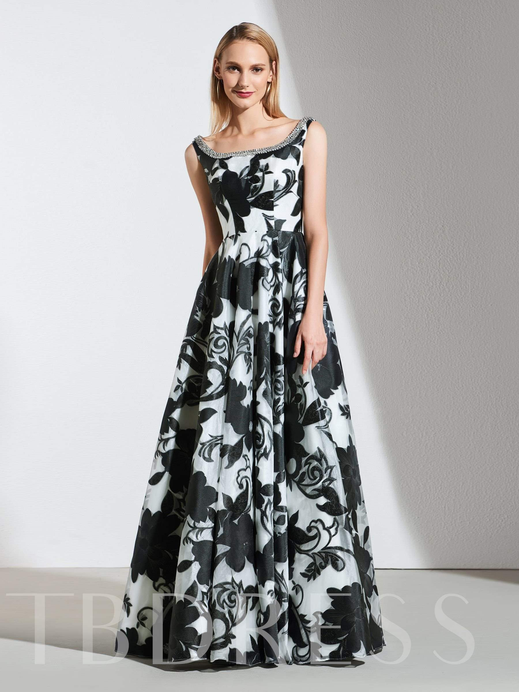 Buy A-Line Appliques Beading Flowers Printed Evening Dress, Spring,Summer,Fall,Winter, 13386432 for $188.99 in TBDress store