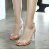 Chunky Heel Plain PVC See Through Clear Jelly Women's Sandals